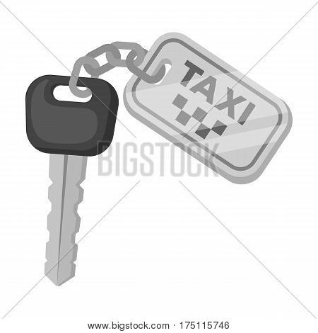 The ignition key for a yellow taxi. Taxi station single icon in monochrome style vector symbol stock web illustration.