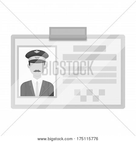 Driver document taxi.Plastik card taxi driver with photo Taxi station single icon in monochrome style vector symbol stock web illustration.