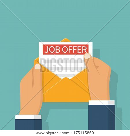 Headhunter holding in hand a job offer. Recruitment concept. Search for employee, colleagues. Ad on paper. Vector illustration flat design. Isolated on background.