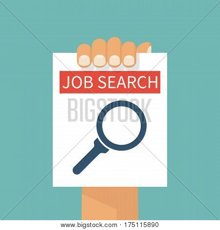 Job search. A man holds a sheet of paper with a message finding a job. Vector illustration flat design. A magnifying glass icon. Black silhouette isolated on white background