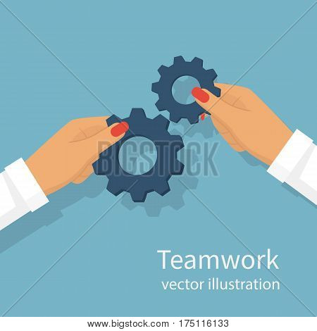 Teamwork business woman concept. Effective cooperation. Vector illustration flat design. Achieving results joint efforts. Gear hold in hands female. Isolated on background. Partnership people.
