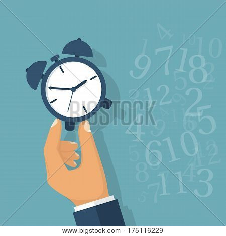 Time manager, control. Vector illustration flat design. Isolated on background. Organization of the process. Successful strategy. Planning. Businessman holding clock in hand. Alarm clock. Checks time