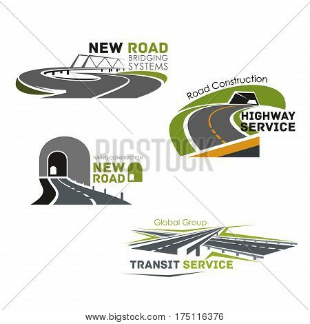 Road construction company vector icons. Emblems set for highway transit bridge building and motorway tunnels service or expressway drives and transport routes planning