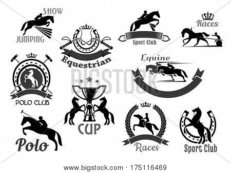Horse races or equine sport club vector icons. Emblems of polo game, equestrian jump show or racing with symbols of horseshoe, rider winner or horserace victory cup award and crown laurel wreath