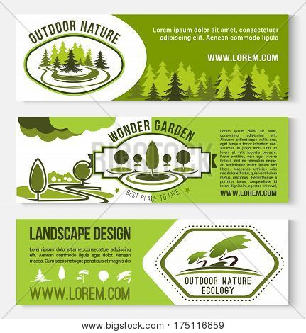 Landscape design and nature gardening vector banners. Set of outdoor garden and forest forest for green horticulture service or house ecology park planting and village house construction company