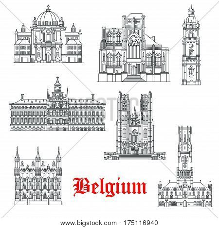 Belgium architecture and landmark buildings. Vector isolated icons and facades of St Christopher, Peter or Gudula church or Sint Pieterskirk, Mons Belfry or Bruges Town Hall and Antwerp City Hall
