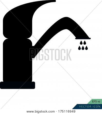 Faucet vector icon. Bathroom and kitchen symbol. Vector illustration.