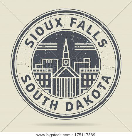 Grunge rubber stamp or label with text Sioux Falls California written inside vector illustration