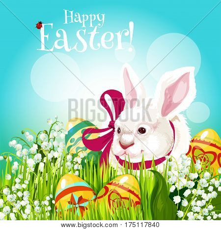 Easter Egg Hunt rabbit with egg greeting card. Easter bunny with patterned eggs on green grass meadow with lily of the valley flowers. Easter spring holiday cartoon festive poster design
