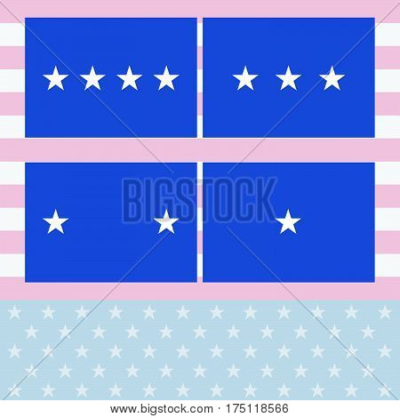 Vector Officers Flags Air Force USAF Flag Set