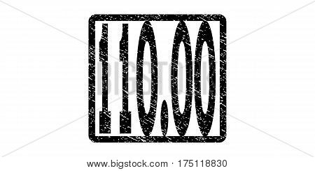 110.00 watermark stamp. Text tag inside rounded rectangle with grunge design style. Rubber seal stamp with scratched texture. Vector black ink imprint on a white background.