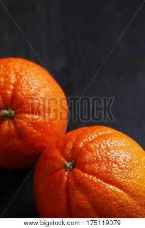 Citrus. Orange on the table