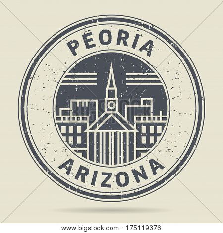 Grunge rubber stamp or label with text Peoria Arizona written inside vector illustration