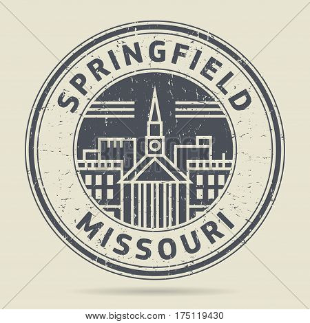 Grunge rubber stamp or label with text Springfield Missouri written inside vector illustration