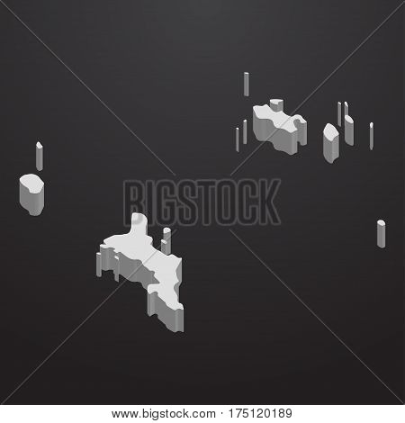 Seychelles map in gray on a black background 3d