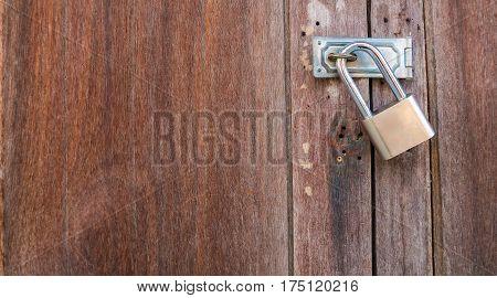 Latche On Old Wooden Door.
