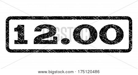12.00 watermark stamp. Text tag inside rounded rectangle with grunge design style. Rubber seal stamp with unclean texture. Vector black ink imprint on a white background.