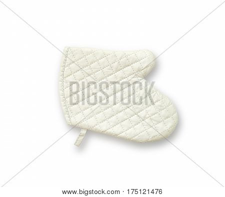 Closeup old white fabric oven glove for cooking isolated on white background