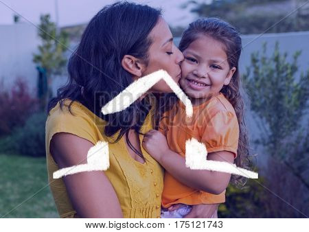 Digital composition of mother kissing her daughter against house outline in background