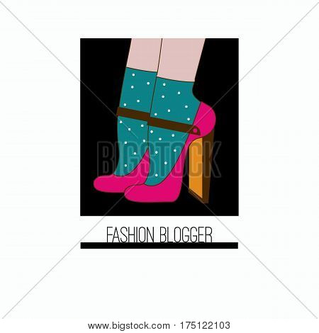 Icon fashion blogger. High heeled shoes and socks. Vector illustration