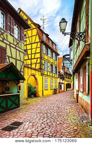 Colmar Petit Venice street and traditional half timbered colorful houses. Alsace France.