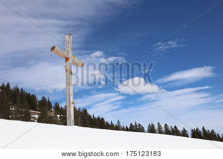 Cross on a Hill in Vorarlberg. Austria