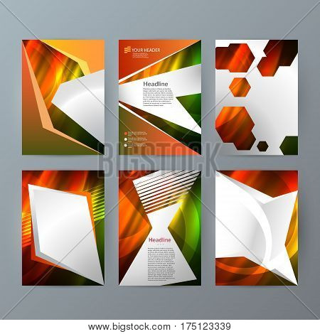 Set Templates Vertical Brochure Mockup Hot Glow Effect02