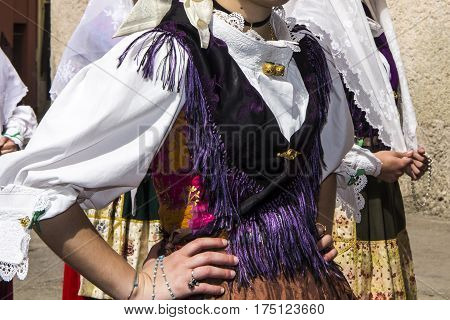 CAGLIARI, ITALY - May 1, 2013: 357 Religious Procession of Sant'Efisio - detail of a traditional Sardinian costumes - Sardinia