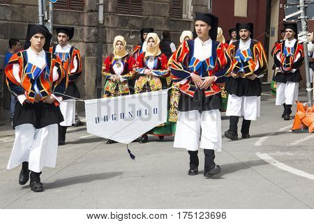 CAGLIARI, ITALY - May 1, 2013: 357 Religious Procession of Sant'Efisio - parade of the folk group of Orgosolo - Sardinia