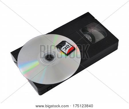 the development of technology: vhs cassette cd sd.