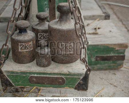 Different weights on a weighing scale Poland