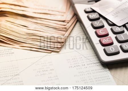 Passbook and calculator, finance and banking concept