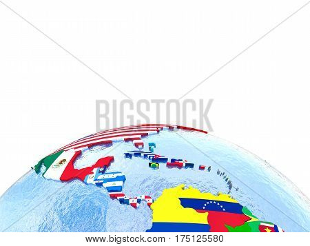 Americas On Political Globe With Flags