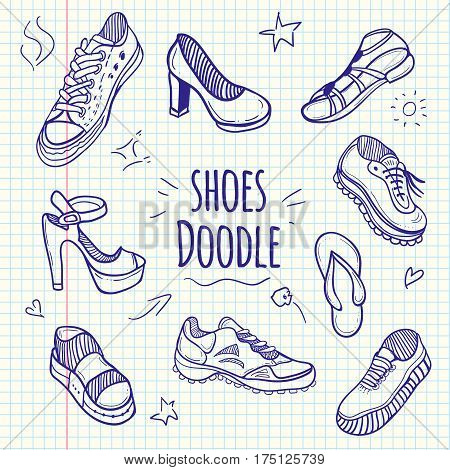 Boots sketchy doodle collection. Set of doodle shoes with sneakers loafers flip flops and sandals.Vector sketchy illustration.