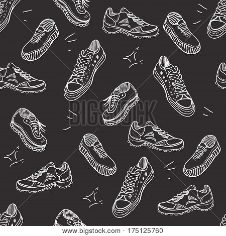 Boots doodle pattern. Background with doodle shoes with sneakers loafers and sport boots.Vector black and white illustration.