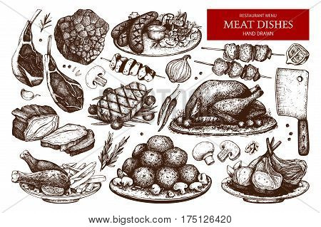 Vector Collection Of Hand Drawn Meat Illustration.