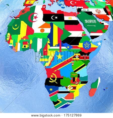 Africa On Political Globe With Flags