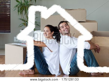 Digital composition of couple sitting in living room against house outline in background