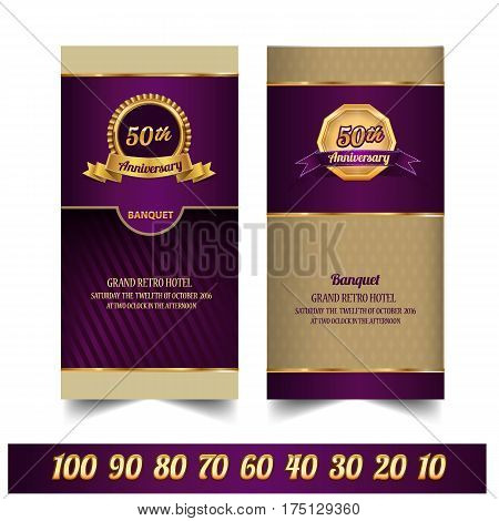 Anniversary ticket template , banquet, Golden background Text