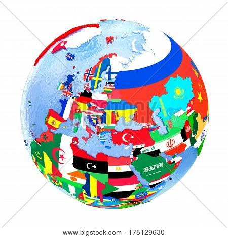 Europe On Political Globe With Flags Isolated On White