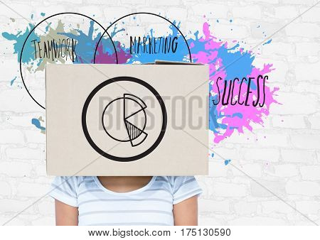 Digital composition of woman covered her face with cardboard box showing pie chart