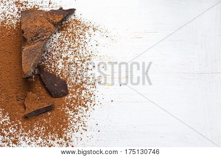 Chocolate ingredients: cocoa solids and cocoa powder. selective focus