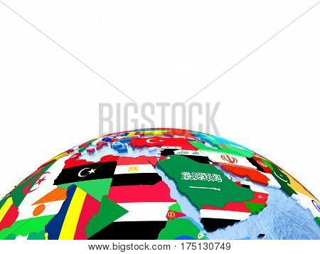 Emea Region On Political Globe With Flags
