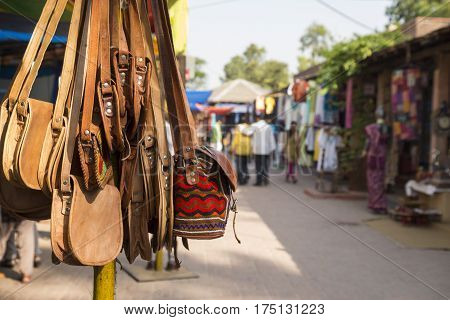 india art style bag display of shopfront in Dilli Haat Delhi India. Dilli Haat is traditional marketplace in delhi