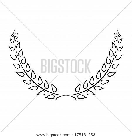 Sign laurel wreath mono. Monochrome icon isolated on white background. Flat design style. Emblem of glory success. Symbol of leader victory triumph. Stock vector illustration