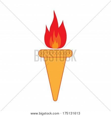 Torch sign. Olympic flame symbol. Colorful icon isolated on white background. Achievement flat mark. Sport event concept. Modern art scoreboard. Stock vector illustration