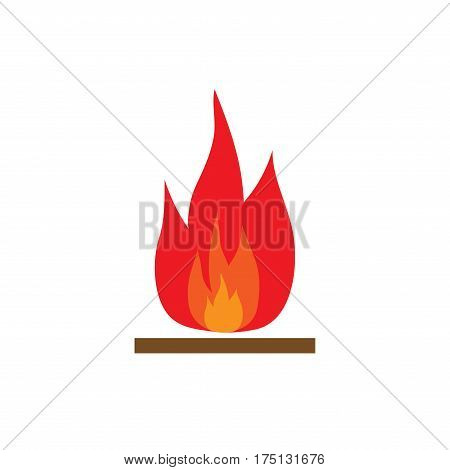 Fire sign. Open flame symbol. Colorful icon isolated on white background. Bonfire flat mark. Camp-fire concept. Modern art scoreboard. Stock vector illustration