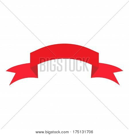Ribbon red sign. Decoration banner symbol. Colorful icon isolated on white background. Flag flat mark. Decoration concept. Modern art scoreboard. Stock vector illustration