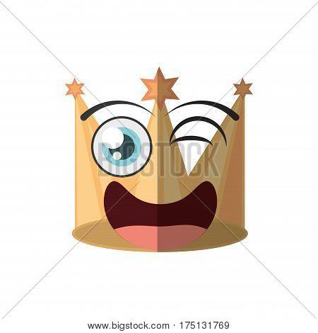 cartoon golden crown party wink vector illustration eps 10