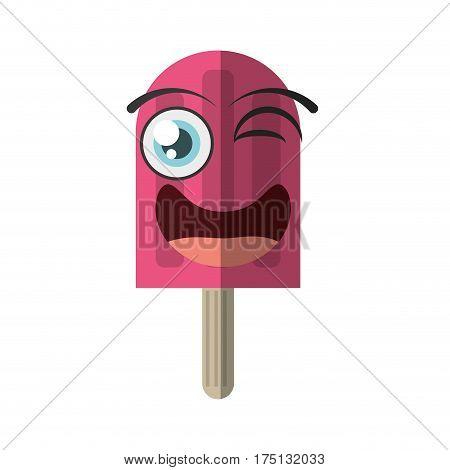 cartoon stick ice cream party wink vector illustration eps 10